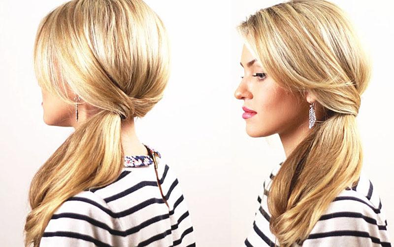 Укладка хвоста на средние волосы